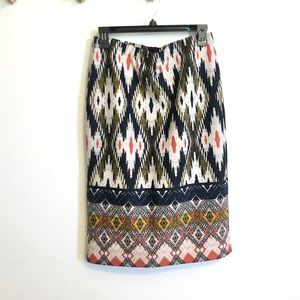 Anthropologie Maeve Printed Stretch Pencil Skirt L